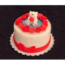 """Торт на День Святого Валентина """"Белый мишка с розой"""""""