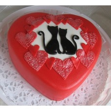 "Торт на День Святого Валентина ""Котики в сердце"""