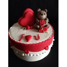 """Торт на 14 февраля """"Милый мишка с сердечком"""""""