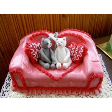 "Торт на День Святого Валентина ""Мишки на диване"""