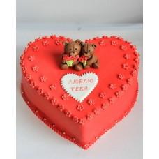 "Торт на День Святого Валентина ""Мишки с розами"""