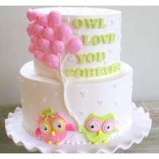 "Торт на День Святого Валентина ""Совушки навсегда"""