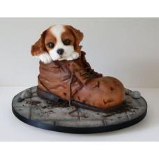 "Новогодний торт 2018 ""Ботинок и щенок"""