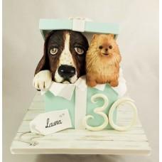 """Новогодний торт 2018 """"Собачки в подарок"""""""
