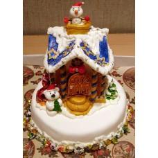 """Новогодний торт на заказ """"Теремок"""""""