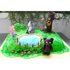 """Детский торт """"Винни-Пух ,Пятачок, Иа"""""""