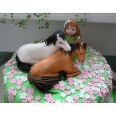 """Детский торт """"Девочка с лошадками"""""""