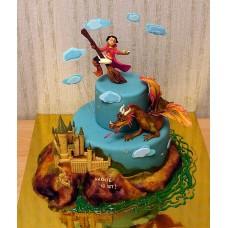 """Детский торт """"Гарри Поттер. Полет над Хогвартсом"""""""