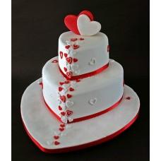 "Торт на 14 февраля ""Два сердца"""
