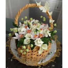 """""""Корзина с орхидеями,розами и каллами"""""""