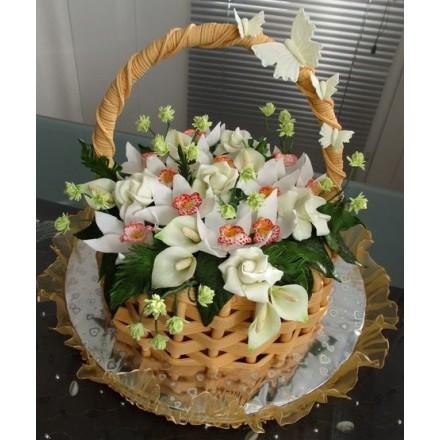 "Торт ""Корзина с орхидеями, розами и каллами"""