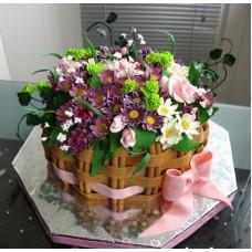 """Торт """"Корзина с осенними цветами"""""""