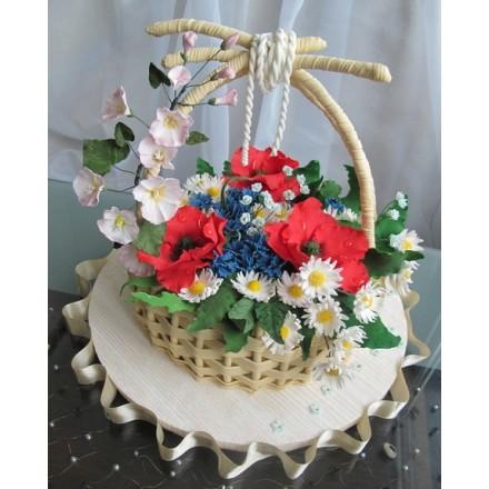 """Торт """"Корзина с полевыми цветами"""""""