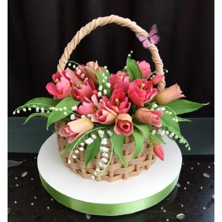"""Торт """"Корзина с розовыми тюльпанами"""""""