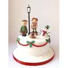 """Новогодний торт """"Лепим снеговика"""""""