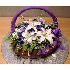 """Торт """"Корзина с фиолетовым бантом"""""""