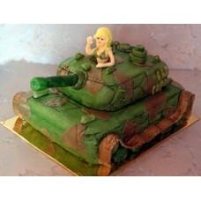 """Торт на 23 февраля """"Блондинка в танке"""""""