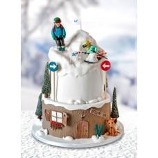 """Новогодний торт 2019 """"Катание на лыжах"""""""