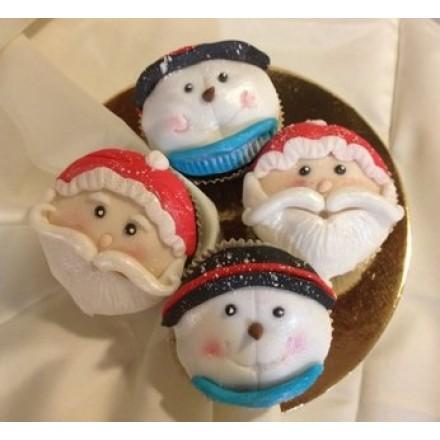 """Капкейки на Новый год """"Дед Мороз и Снеговик"""""""