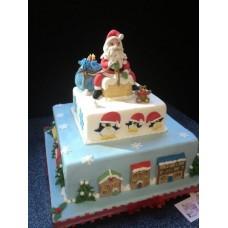 """Новогодний торт на заказ """"Санта на трубе"""""""