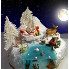 """Новогодний торт на заказ """"Санта - Клаус и олени"""""""