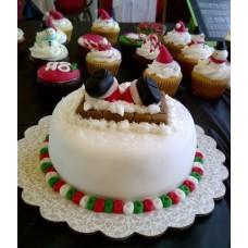 "Новогодний торт на заказ ""Санта-Клаус в трубе"""