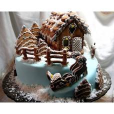"Новогодний торт на заказ ""Пряничный домик"""