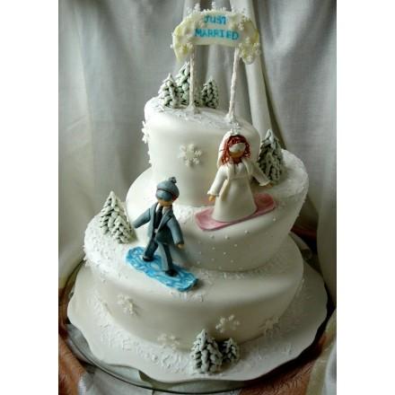 "Новогодний торт на заказ ""Сноубордисты"""