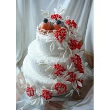 "Новогодний торт на заказ ""Снегири"""