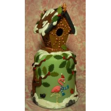 """Новогодний торт на заказ """"Зимний домик с фламинго"""""""