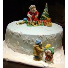 """Новогодний торт на заказ """"Дед Мороз с мешком подарков"""""""