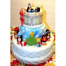 """Новогодний торт на заказ """"Новогодние пингвины"""""""