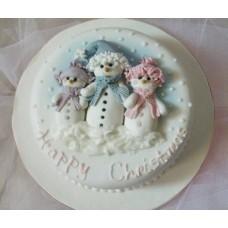 """Новогодний торт на заказ """"Семья снеговиков"""""""