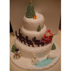 "Новогодний торт на заказ ""Санта на Северном полюсе"""