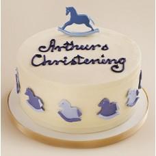 """Новогодний торт на заказ """"Синяя деревянная лошадка"""""""