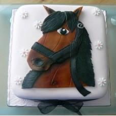 """Новогодний торт на заказ """"Синяя деревянная лошадь"""""""
