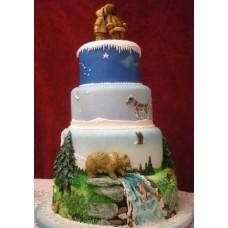 """Новогодний торт на заказ """"Сказочный мир"""""""