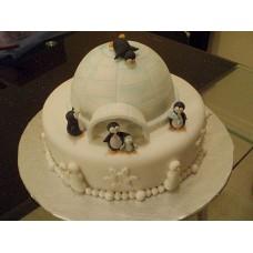 "Новогодний торт на заказ ""Пингвины"""