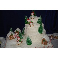 "Новогодний торт на заказ ""Снеговики на лыжах"""