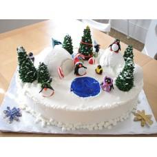 "Новогодний торт на заказ ""Семейка пингвинчиков"""