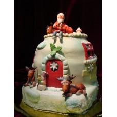 "Новогодний торт на заказ ""Санта и олени"""
