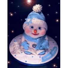 """Новогодний торт на заказ """"Снеговичок для девочки"""""""