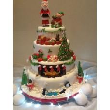 """Новогодний торт на заказ """"Деревня Санта-Клауса"""""""
