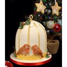 """Новогодний торт на заказ """"Зимние пташки"""""""
