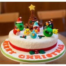 """Новогодний торт на заказ """"Новый год в стиле Angry Birds"""""""