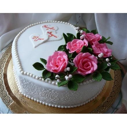 """Торт  """"27 лет - Свадьба Красного дерева"""""""