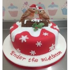 """Новогодний торт на заказ """"Новогодние снегири"""""""