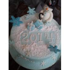 """Новогодний торт на заказ """"Снеговик 2018"""""""