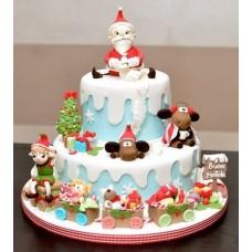 """Торт """"Дед Мороз и паравозик"""""""