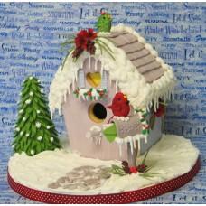 """Новогодний торт """"Скворечник покрытый снегом и сосульками"""""""